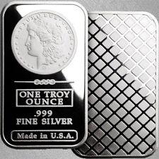 1oz Silver Bullion Bar – Morgan Dollar Design – .999+ Pure Silver