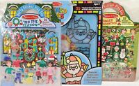 Christmas MELISSA & DOUG STAINED GLASS SANTA CLAUS & PUFFY STICKER PLAYSET LOT k