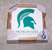 AbsorbaStone Michigan State University Coasters Set of 4 w/ Wood Holder