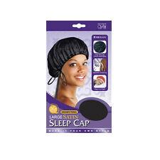 Qfitt Drawstring Large Satin Sleep Cap Cover Hair Style Adjustable #125 Black