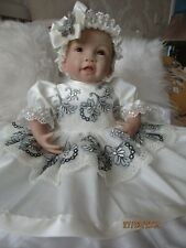 "CLOTHES FOR BAby 3-6mths /REBORN doll 22 "" all cream/grey two  piece  set  NEW"