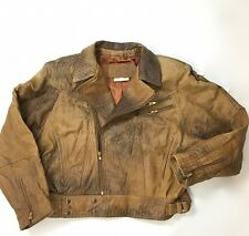 Vtg 80s Distressed Leather Motorcycle Jacket Brown Men M Leather Ranch Canada