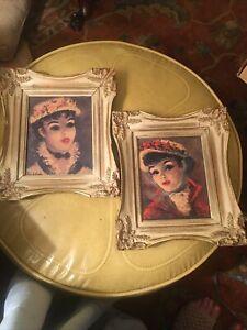"2 Vintage Huldah Prints Framed 10"" x 11"" Shabby French. Yvonne and Annette"