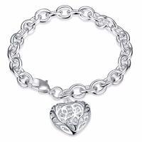 *UK* 925 Silver Plt Hollow Love Heart Charm Bracelet / Bangle / Anklet Chunky
