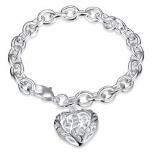 925 Silver Plt Hollow Love Heart Charm Bracelet / Bangle / Anklet Chunky A