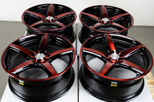 17 5x114.3 5x100 Red Wheels Fits Rsx Celica Matrix Camry Mazda 3 6 Civic Rims