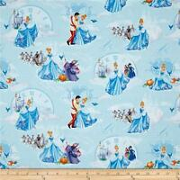 Disney Cinderella At the ball lite blue 100% cotton fabric by the yard
