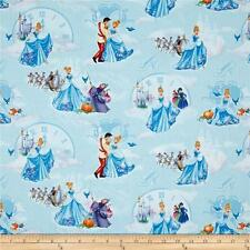 Disney Cinderella At the ball lite blue 100% cotton Fabric Remnant 22""