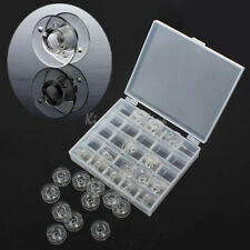 25 Clear Bobbin Sewing Machine Plastic Spools + Box For Thread Brother Singer