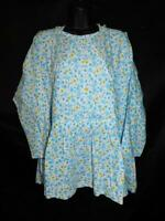Alaska Native Eskimo Kuspuk 2X White Blue Yellow Floral Tunic Shirt Cotton Hood