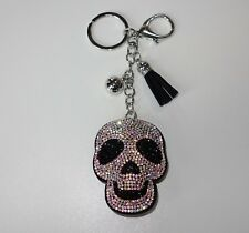 S165 - Taschenanhänger - NEU - Schwarz Skull Totenkopf Punk Silberfarben Strass