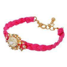 Fuchsia Pink Braided String Clear Rhinestone Adjustable Length Gold Bracelet