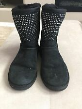 Ugg Women's Shimmer Sparkle Black Classic Short Boots Size 39 Or 8 S/n 1003890