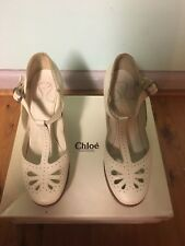 Chloe Shoes - off white leather size 39 Wedges RRP$1100 Wooden Platforms