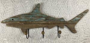 Drift Wood Shark Shaped Wall Coat/Towel /Hat Rack Holder, 3 Hooks. Beach,Ocean