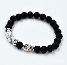 Men's Women Lava Rock White Howlite Bracelet Tibetan Silver Buddha Handmade 7MM