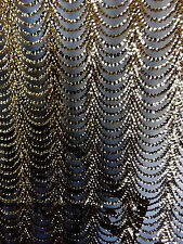 Bridal Wedding Gold Black Sequins Embroidered Net Lace Fabric BTY