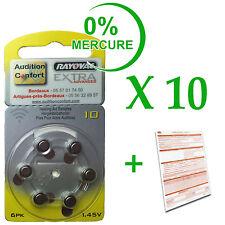 10 plaquettes de 6 piles pour appareil auditif RAYOVAC N° 10  (PR70) 0% mercure