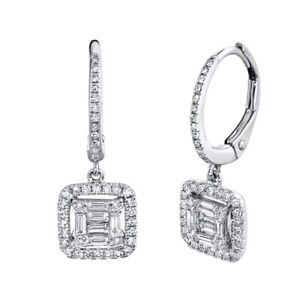 Baguette Diamante Quadrato Orecchini 14K Oro Bianco Pendenti 0.48CT Naturale