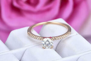 0.62 Ct Moissanite Round Cut Rose Gold Proposal Ring 18K Solitaire Girl ring