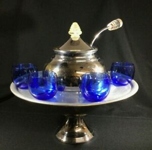 Vtg Art Deco Lehman Brothers Chrome Punch Bowl W Cobalt Cups And Ladle As Shown