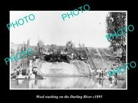 OLD LARGE HISTORIC PHOTO OF WOOL WASHING ON THE DARLING RIVER NSW, c1895