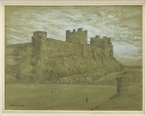 Gareth Floyd Signed Original Pencil Sketch of Bamburgh Castle, Northumberland