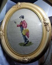Antique Needlepoint picture wood carved frame A Boy Figure Scene 12x10