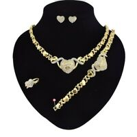 "#14 HUGS & KISSES Necklace With Bracelet 18"" Xo Earrings, (Ring size 9) GF"