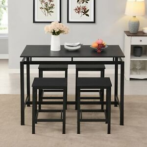 EUROCO 5-Piece Dining Set Wood and Metal Pub Table with 4 Bar Stools, Espresso