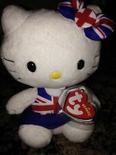 "NEW TY Beanie Baby ""Hello Kitty"" UK Union Jack Dress UK EXCLUSIVE RETIRED"