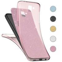 Handy Hülle Samsung Galaxy A6 2018 Full TPU Case Glitzer Schutzhülle Cover Klar