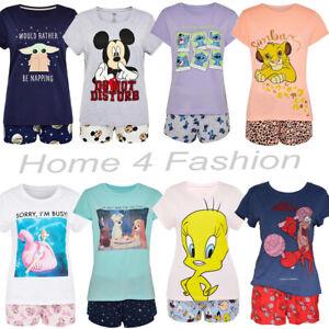 Ladies Disney 2 Piece PJ Set Women's Pajama Girls T Shirt Shorts Pyjamas Primark