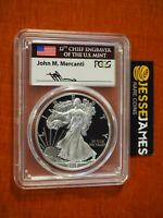 2017 W PROOF SILVER EAGLE PCGS PR70 DCAM MERCANTI FIRST DAY OF ISSUE FLAG LABEL
