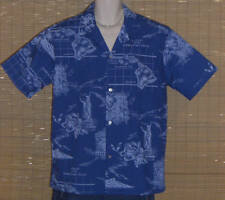HOWIE Hawaiian Shirt Blue Islands Maps Sailing Charts Size Large NWOT