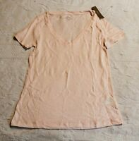 J.Crew Women's Short Sleeve Vintage Cotton V-Neck T-Shirt SV3 Pink Size 2XS NWT