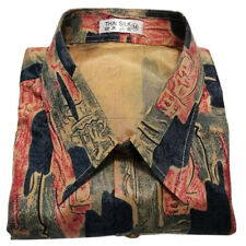 Mens Thai Silk Shirts Paisley Pattern Hawaiian Short Sleeve Casual M-XXXL Retro