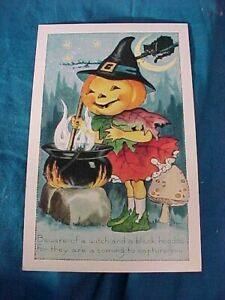 """Early 20thc HALLOWEEN POSTCARD w """" BEWARE Of A WITCH + BLACK HOODOO """""""