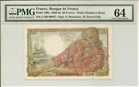 France, Banque de France 1942-44 20 Francs, Pick#100a PMG 64 Choice Unc