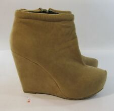 "Brown 4.5"" Wedge Heel 1.5"" Platform Pointy Toe Ankle Boot Size 7.5"