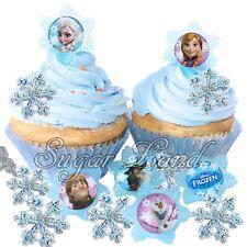 24 Disney Frozen Cupcake/Cake Decorating Supplies Pops Snowflake Rings Favors