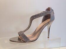 """GLINT """" DEVYN """" silver fabric / leather rhinestone sandals / stilettos sz. 10 B"""