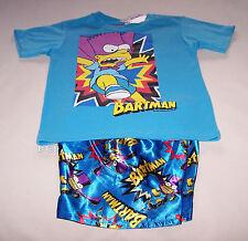 The Simpsons Bart Bartman Boys Blue Printed Pyjama Set Size 4 New