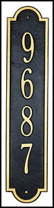 Whitehall Richmond Vertical Address Plaque Marker - 17 Color Choices Rust Free!