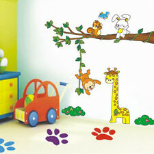 Asmi Collection Pvc Wall Stickers Tree Girrafe Monkey Rabbit For Kids Room