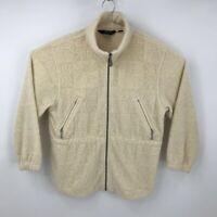 Eddie Bauer Ebtek Womens Floral Pattern Fleece Jacket Beige Zip Petite-Medium