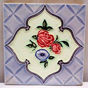 TILE MAJOLICA JAPAN ART NOUVEAU FLOWER DESIGN SAJI TILE WORKS CERAMIC PORCEL#233