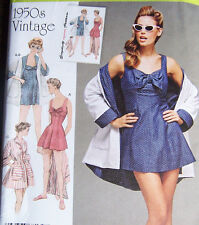 vintage 1950s style SWIMSUIT bathing dress & COVER UP PATTERN SZ 14-22  1-piece