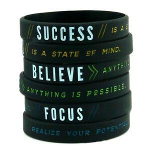 Motivational Positive Inspirational Courage Wristbands Bracelet Silicone Band