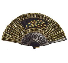 Chinese Sequin Peacock Tail Feather Hand Fan Folding with Black Gold Trims New